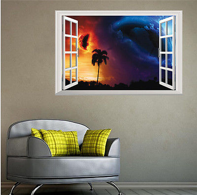 Online Shop Planet Crash Fake Window View Wall Decal 3D Removable Art Stickers  Bedroom Decor | Aliexpress Mobile