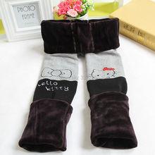 Dziewczęce ocieplacz na zimę spodnie grube hello kotek bawełniane legginsy dla dziewczynek dziecko dzieci w pasie futro ciepłe spodnie cartton
