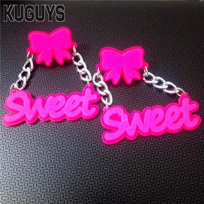 KUGUYS Acrylic Jewelry Custom Brincos Jewelry Hot Pink Sweet Large Earrings for Women Pendientes Bowknot Drop EarringOorbellen