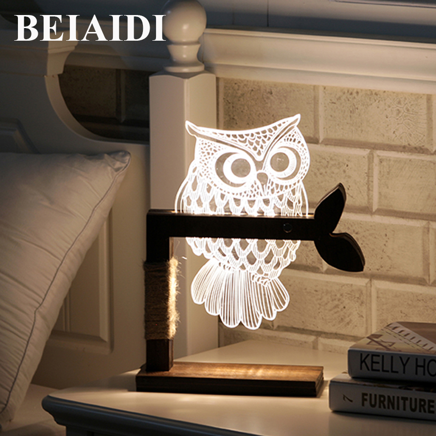 BEIAIDI 3D Vision Acrylic Table Lamp 3D Owl Butterfly Led Night Light Creative Wooden Bedside Lamp For Christmas Birthday Gift wooden modern led 3d table lamps creative personality bedroom bedside night light lampe deco birthday gift elk