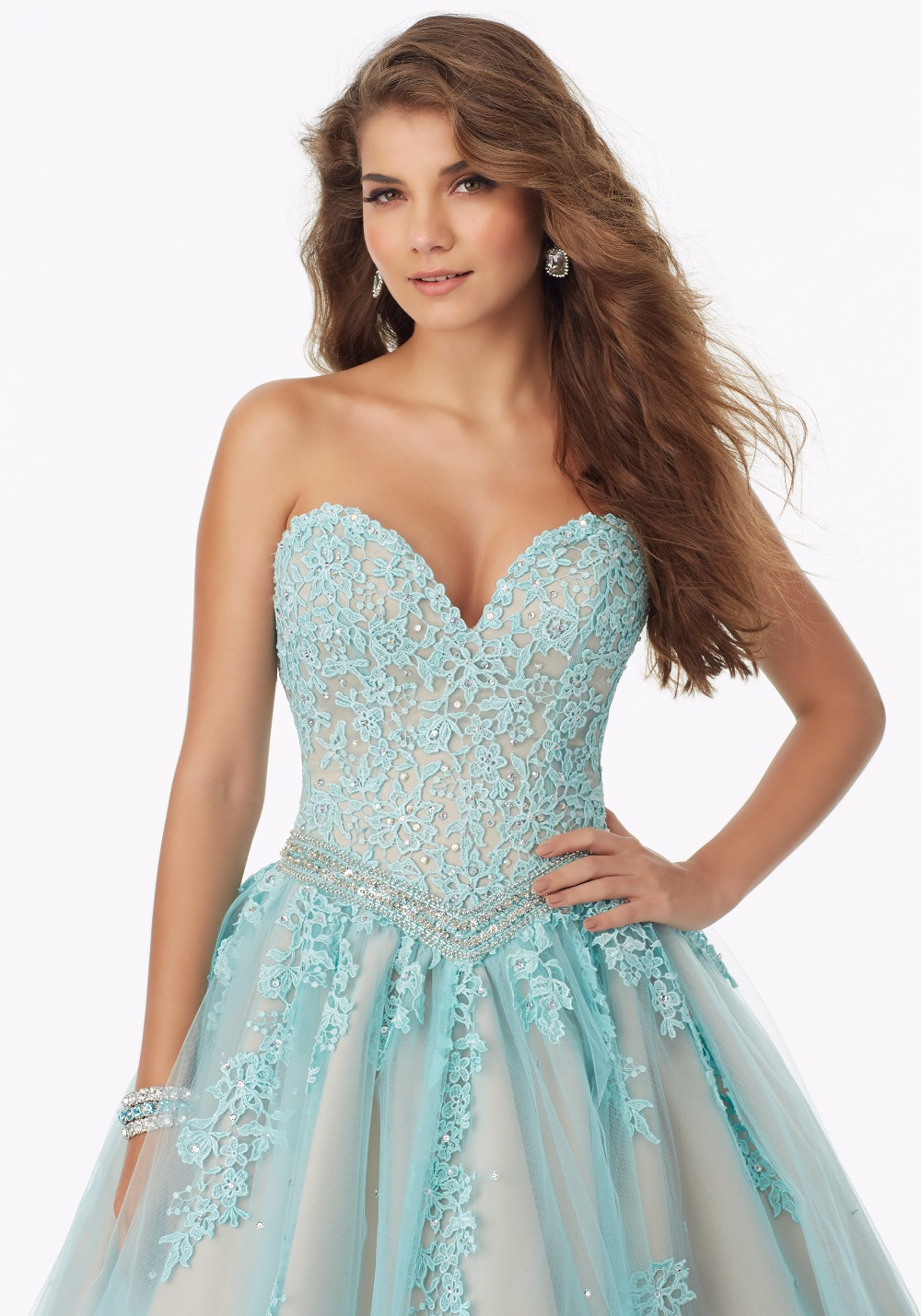 Aliexpress.com : Buy White Aqua Nude Two Toned Ball Gown Prom ...
