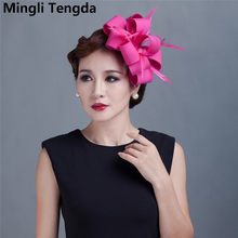 8b6aa58d49da4 Mingli Tengda Fascinator accesorios para el cabello señora boda fiesta  sombreros plumas rojas tocado de novia de lino tocado de .