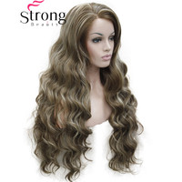 StrongBeauty Lace Front Wavy Brown Highlighted Full Synthetic Wig Women's Lace Wigs