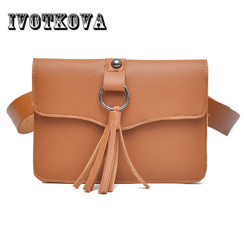 IVOTKOVA 2 Layer Women Waist Packs Tassel Fanny Bags Pu Leather New Belt Pouch Bag 5 Colors Black Pink Brown Gray White Red Bag