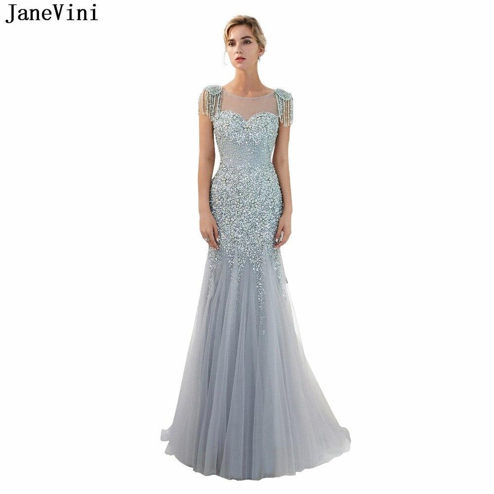 3a8c592f1a2 JaneVini Роскошные Кристаллы арабский мама невесты платья с круглым вырезом  и вышивкой бисером Sheer Вернуться Дубай