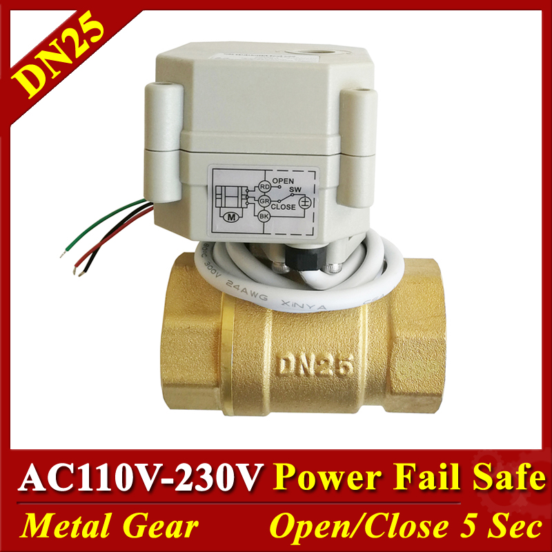 normal open closed valve brass 1 DN25 electric motorized valve AC110V 230V 9 24V 2 wires