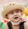 Оптовая новых детских крышка корея моды дети лето соломы медведь вс hat спорт cap 1-5 лет
