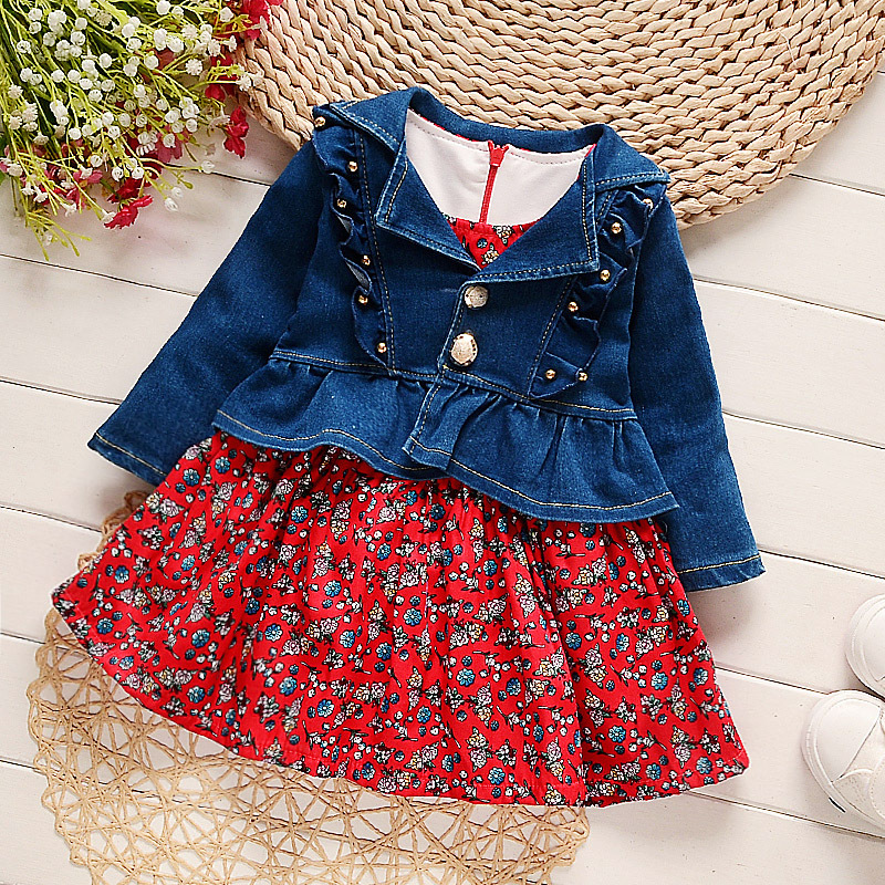 2017 Spring New Baby Girls Clothing Sets Fashion Cowboy Style Printed Coat+Dress 2Pcs Girls Clothes