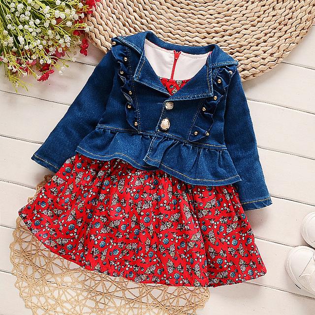2017 nova primavera do bebê meninas conjuntos de roupas de moda estilo cowboy casaco impresso + dress 2 pcs roupas das meninas