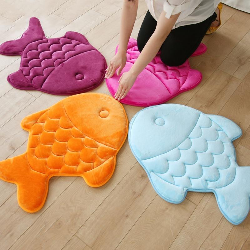 58*70cm/60*60cm Absorbent Non Slip Fish/Butterfly Carpets Kitchen