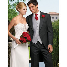 wedding gray tuxedo long tail for men formal wear 2017 custom made suit groom  dress 3 piece suits