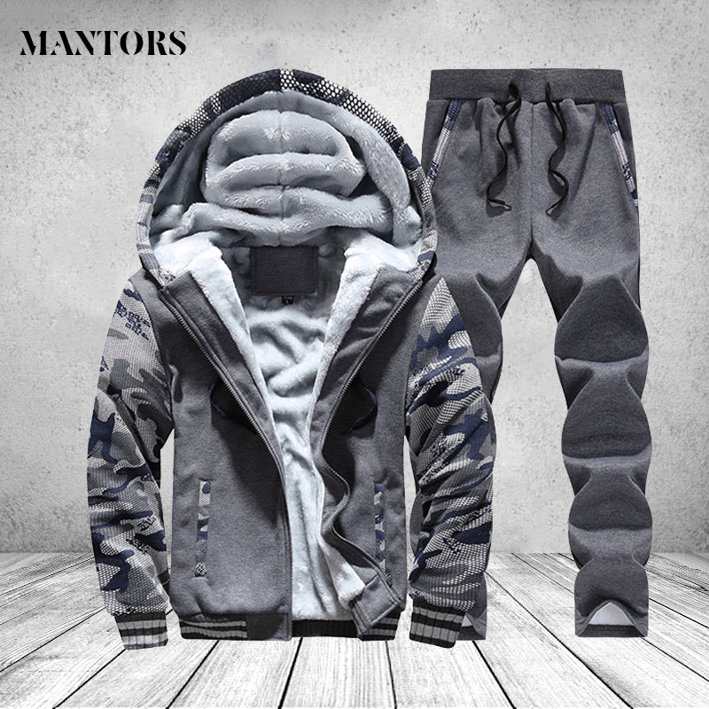 Winter Coat Outwear Tracksuit Clothing Hoody Parka Men Inner Warm Fleece Thick Man Camouflage title=