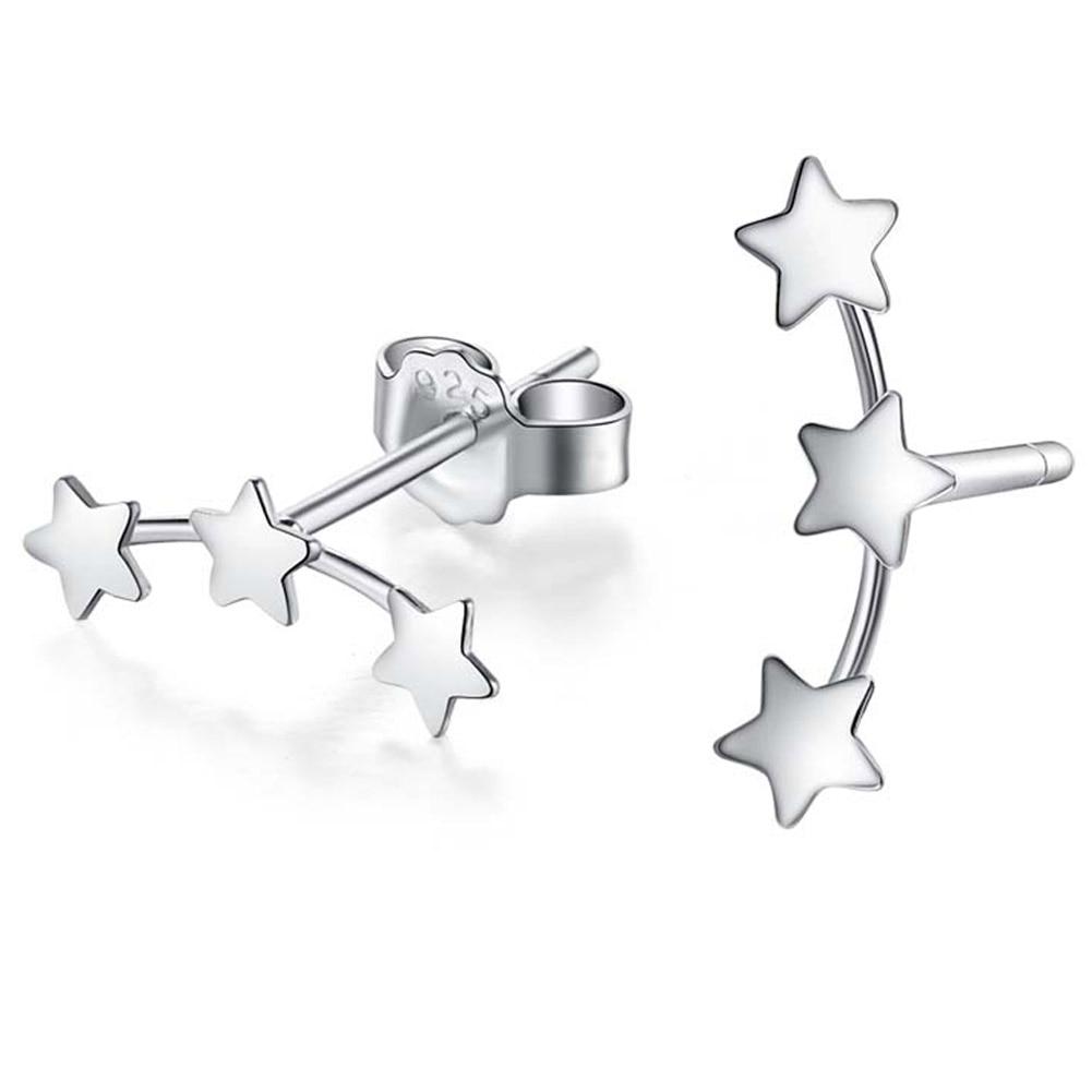 1 Pair Fashion Jewelry New Wholesale Three Star Men Teens Stud Earrings for women Cute Star earrings Freeshipping