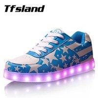 Tfsland Женщины Мужчины Свет Обувь Красочные Светящиеся USB Зарядное Устройство LED Обувь Американский Флаг Печати Lumineuse Кроссовки Обувь Для Ходь...