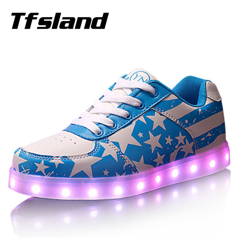 Tfsland Women Men LED Light Up Shoes Colorful Glowing USB Charger LED Shoes American Flag Print Lumineuse Sneakers Walking Shoes