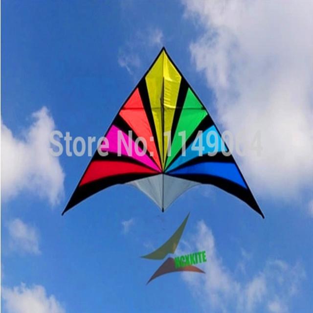 Envío de la alta calidad del paraguas de nylon ripstop rainbow cometa con la línea de mango parafoil kite tela ripstop delta kite factory