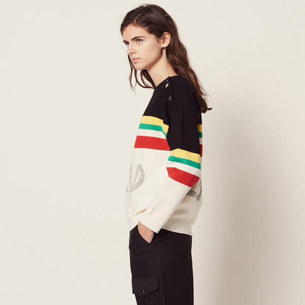 Women Sweater 2019 Spring and Summer College Style Striped Letter Sweater