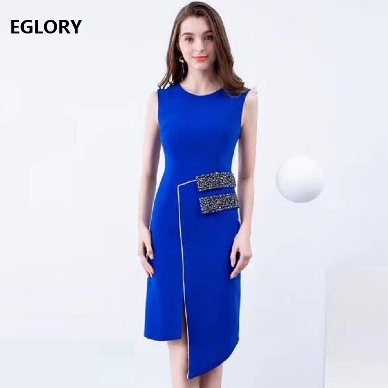 Top qualité nouveau 2019 été mode Cocktail fête femmes robe o-cou diamant perles moulante noir bleu robe crayon OL