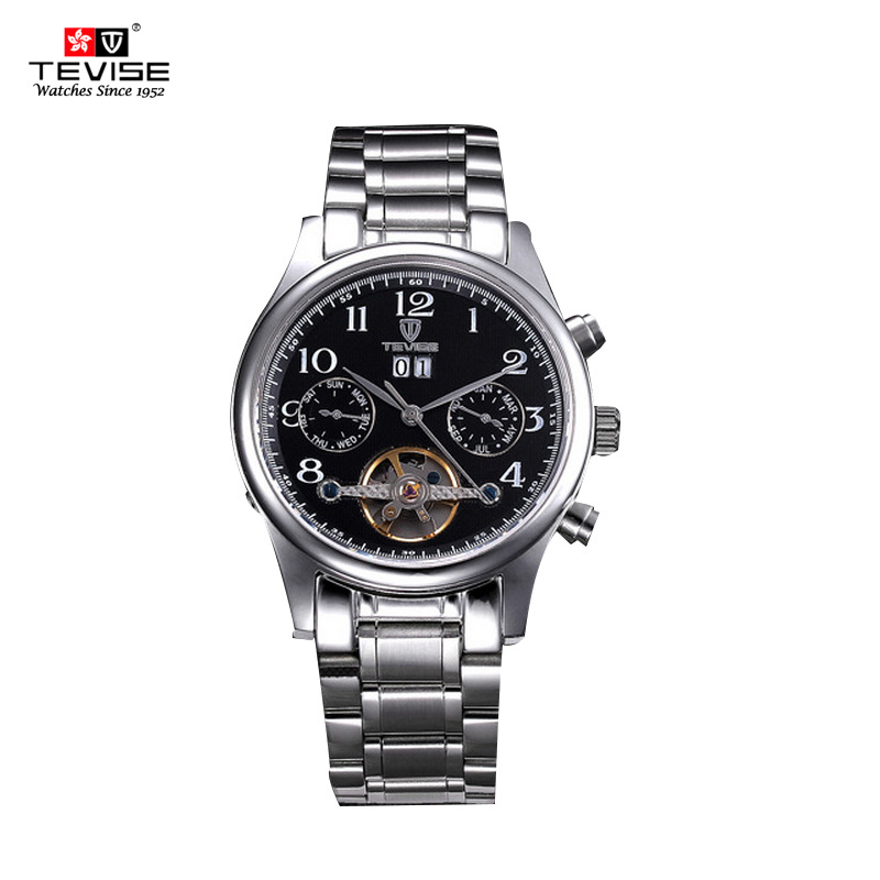 Tevise Brand fashion business mens clocks Automatic mechanical luxury male watches stainless steel man wristwatches Best Gift