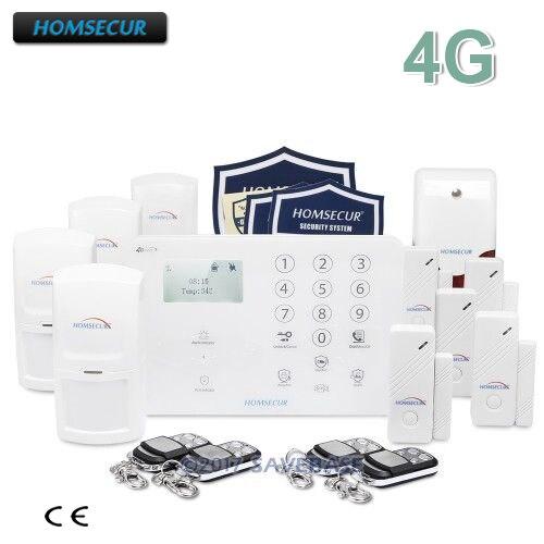 Cheap HOMSECUR GSM Alarm System 4G Smart Alarm System 3G Home Security Alarm System Metal Remote Control Touch Alarm Panel Flash Siren
