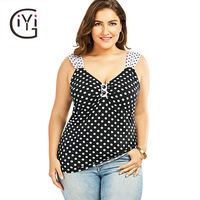 GIYI Plus Size 5XL Polka Dot Print Tank Top Summer 2017 Women Sexy V Neck Sleeveless Slim Oversized Tops Big Size Vest Ladies