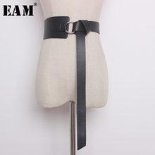 [EAM] 2021 lato wiosna nowy mody Casuai stałe pięć kolory pas kobieta szeroki pasek długi 128cm miękkie skórzane Trendy AA213