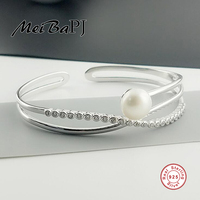 [MeiBaPJ]925 Sterling Silver natural freshwater pearl bracelet for women white/pink/purple/black fashion charm jewelry gift box
