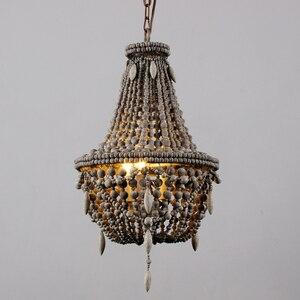 Image 2 - アンティークホワイト木製ビーズシャンデリア照明ヴィンテージ黒キッチンシャンデリアレトロ木製照明器具