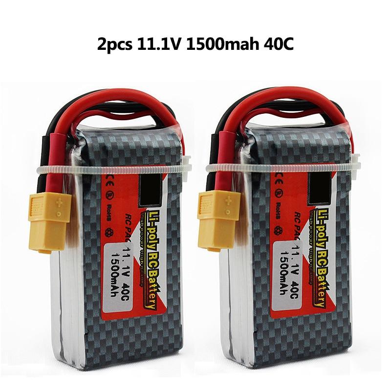 2pcs Li-polymer Power Lipo Battery 11.1V 1500mAh 3S 40C XT60 For RC Helicopter Car Truck Hobby Drone Parts Bateria