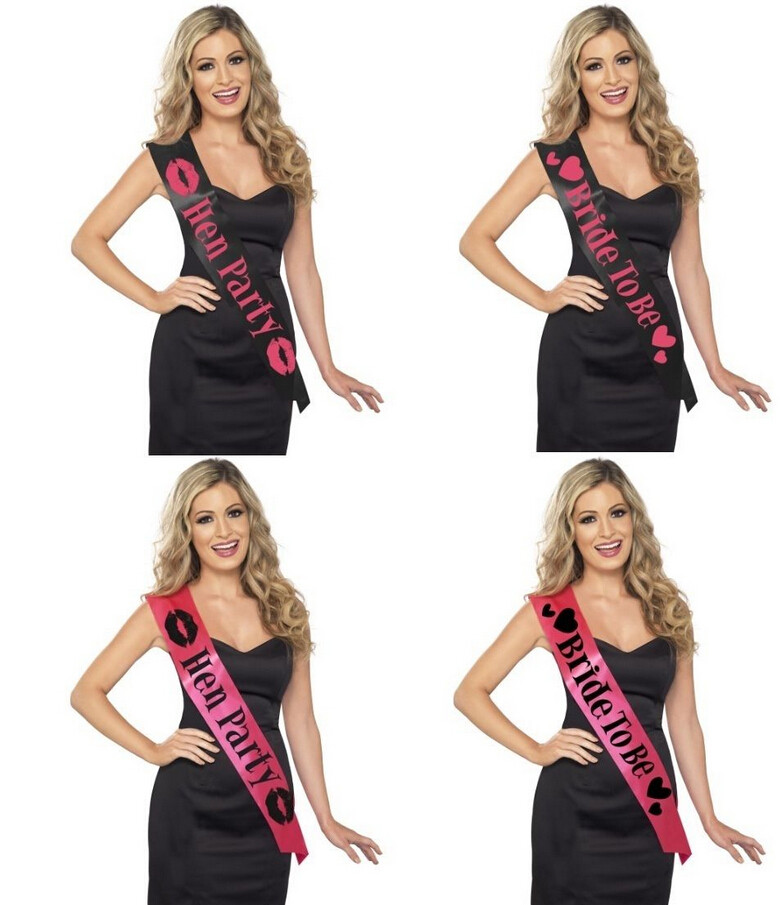 Bachelorette party supplies 1pcs Pink / Black Hen Night Stain Sashes