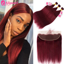 AliPearl 99j Bundles With Frontal Closure Human Hair Burgundy Brazilian Straight Hair 3 Bundles With Frontal Remy Hair Extension(China)