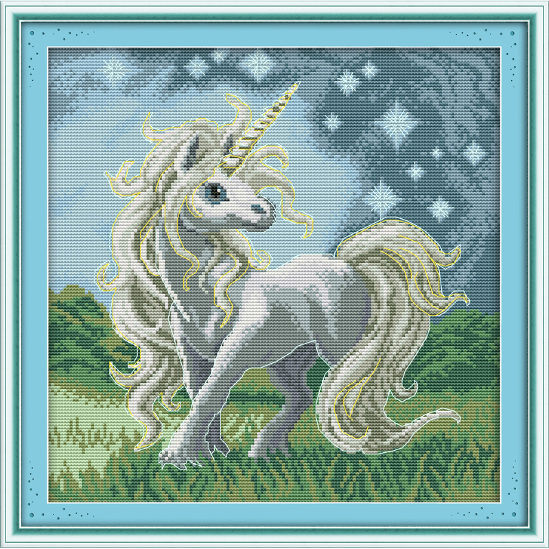 Everlasting love Beautiful unicorn Chinese cross stitch kits Ecological cotton stamped 14CT 11CT DIY gift new year decorations