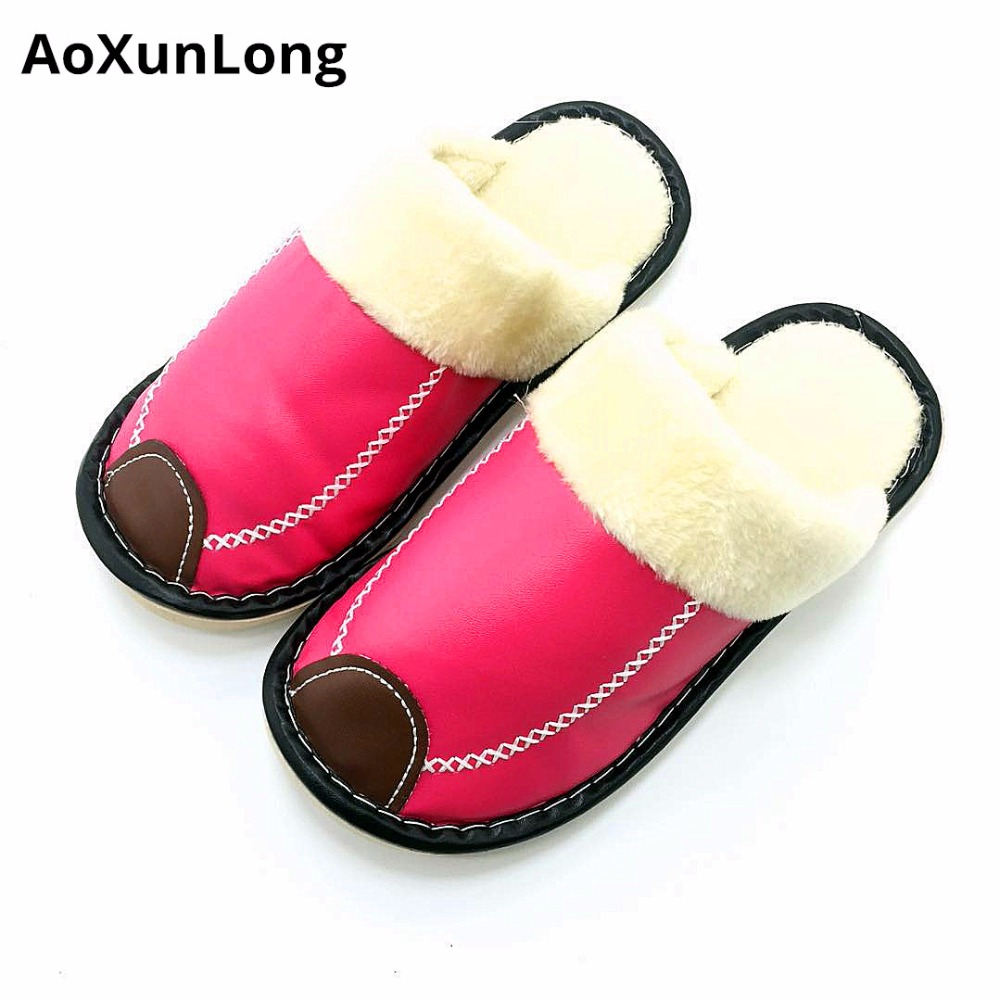 Women Slippers Plush Winter Warm Home Slippers Leather Flat Indoor - Women's Shoes