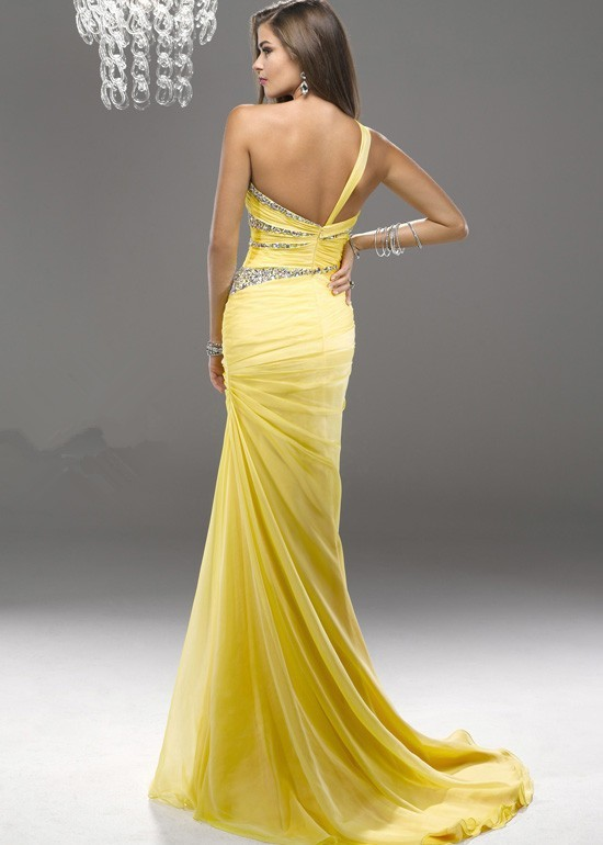 1e8d8a13fcb07 Sexy One Shoulder Bright Yellow Long Bridesmaid Dresses 2016 Fashion  Mermaid Prom Gowns with Beading Sequins-in Bridesmaid Dresses from Weddings  & Events on ...