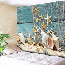 Wood Starfish Conch Decorative Tapestry Wall Hanging Hippie Boho Tapestry Bohemian Retro Turquoise Green Blanket Beach Towel