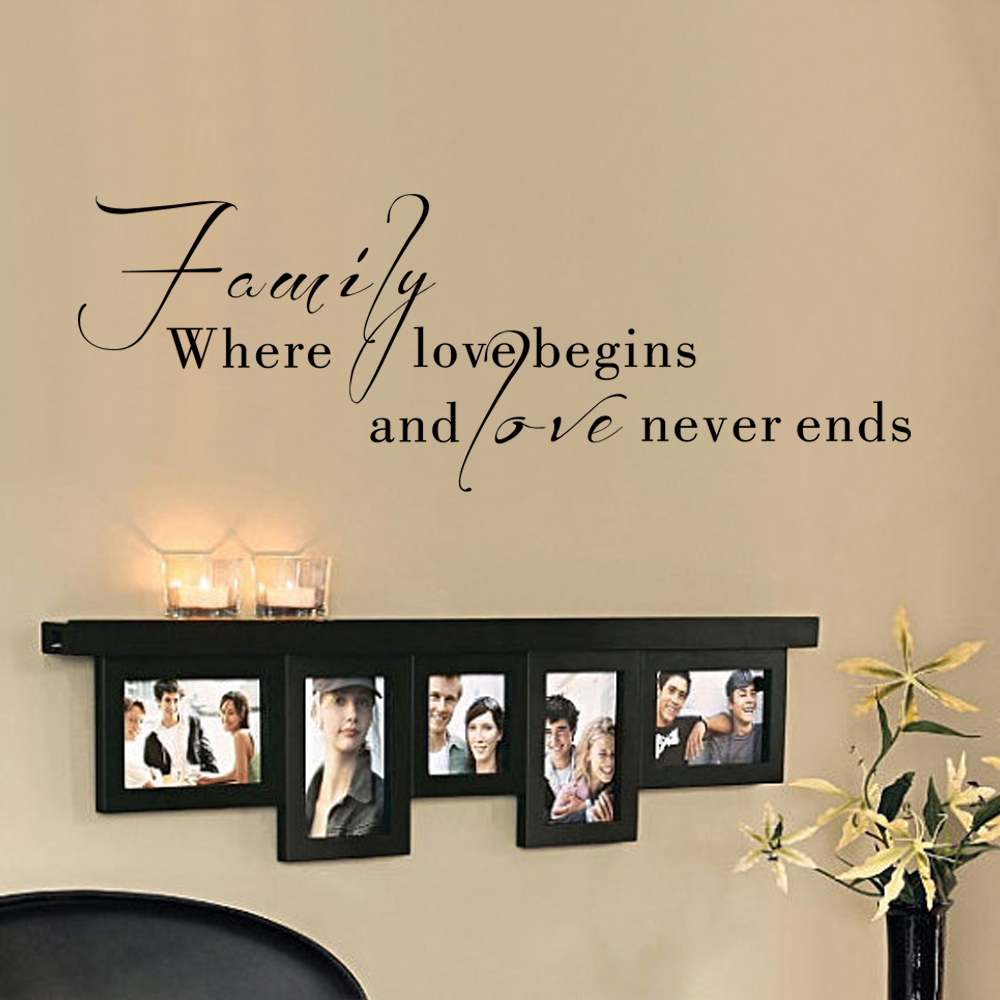 Family Wall Art Quote Vinyl Wall Decal Graphic Decals Family Where Love Begins And Love Never Ends 30.5cm x 86cm