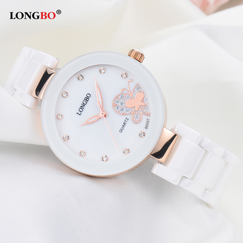 LONGBO 2018 Fashion Gold Ceramic Women Quartz Watches Luxury Butterfly Ladies Wristwatch Relojes Mujer Female Clock Montre Femme luxury brand women diamond quartz watch ladies female dress wristwatch rotatable dial watche s montre femme relojes mujer