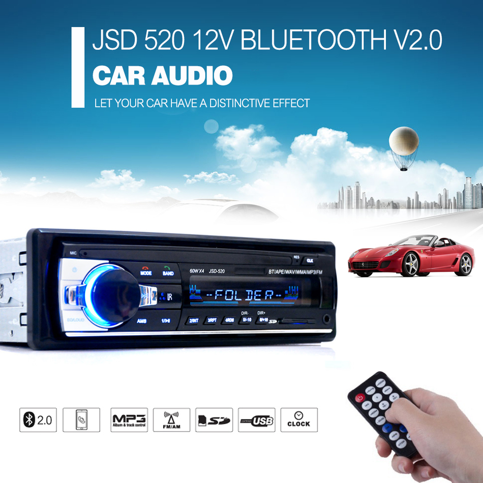 Registered Car Radio 12V Bluetooth V2.0 Car Audio Stereo In-dash 1 Din FM Aux Input Receiver SD USB MP3 MMC WMA Car Player