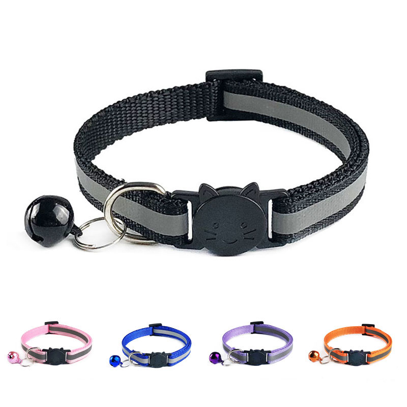 Reflective Breakaway Cat Collar Adjustable Small Pets Puppy Dog Kitten Cat Nylon Collar With Bell 12 Color Neck 19-32cm 1.0cm