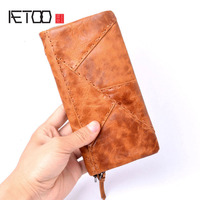 AETOO Original handmade wallet men retro patchwork wallet first layer of leather clever long paragraph zipper female men Vintage
