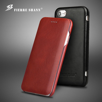 Fierre Shann Phone Case For Iphone 7 7plus 8 8plus Simple Style Genuine Leather Case Flip