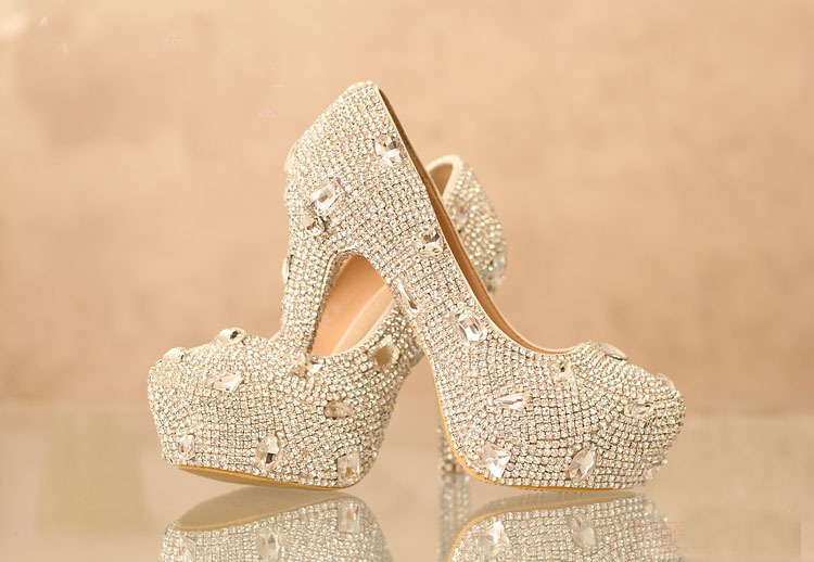 Silver Crystal Platform High Heel Rhinestone Anniversary Party Shoes Wedding Dress Shoes Bridal Shoes Beautiful Formal Shoes white pearl high heel shoes crystal platform bridal wedding shoes diamond rhinestone women shoes formal gown prom shoes