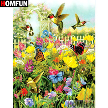 HOMFUN 5D Diamond Pattern Rhinestone Needlework Diy Painting Cross Stitch Bird butterfly Embroidery A21349