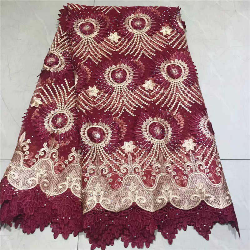 Nigerian Tulle Lace Fabric With stones Embroidered Design African French Net Lace Fabric For Wedding Dress 5 Yards nly1-401