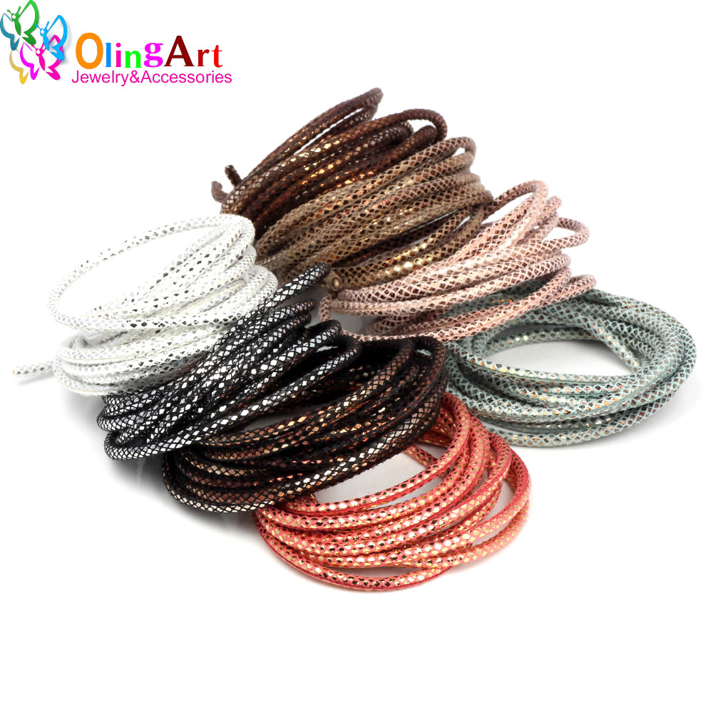 OlingArt 3mm 2m lot Round PU Leather Cord Rope For European style DIY Necklace Bracelet choker Craft Jewelry Making NEW in Jewelry Findings Components from Jewelry Accessories