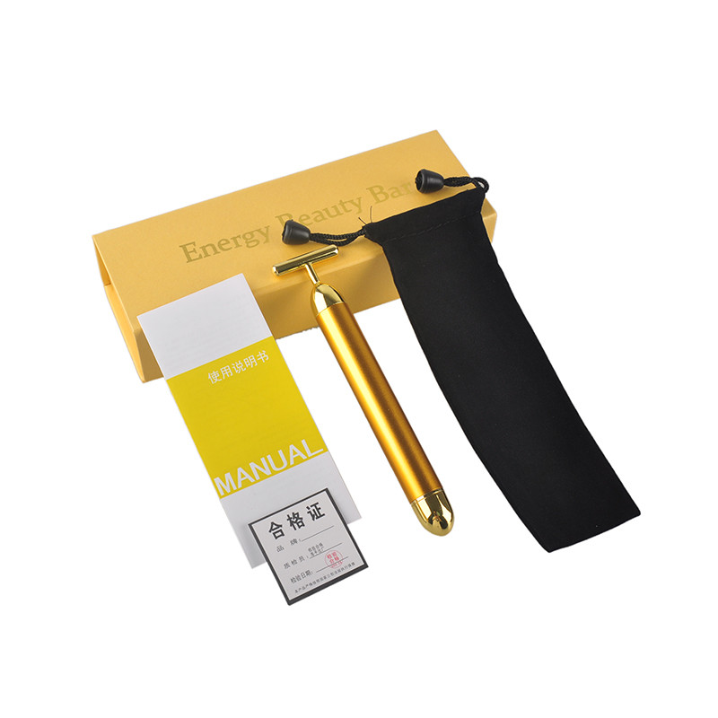 Slimming Face 24k Gold Vibration Facial Beauty Roller Massager Stick Lift Skin Tightening Wrinkle Bar Face with Black Bag derma slimming face massager stick 24k gold vibration facial beauty roller lift tightening wrinkle stick bar face skin care with box