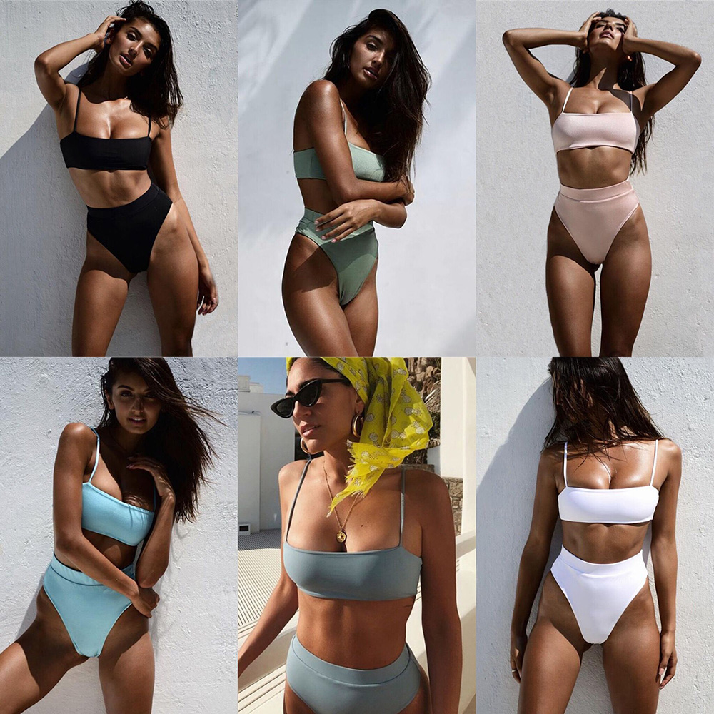 Sexy Bikinis Solid Push Up Bikini Hot Sale Padded Bra Straps High Waist Swimsuit
