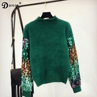JOYDU 2018 Korean Winter Lady's Sweater Sequins Long Sleeve Patchwork Pullover Fashion Mohair Turtleneck Knitted Sweaters Women