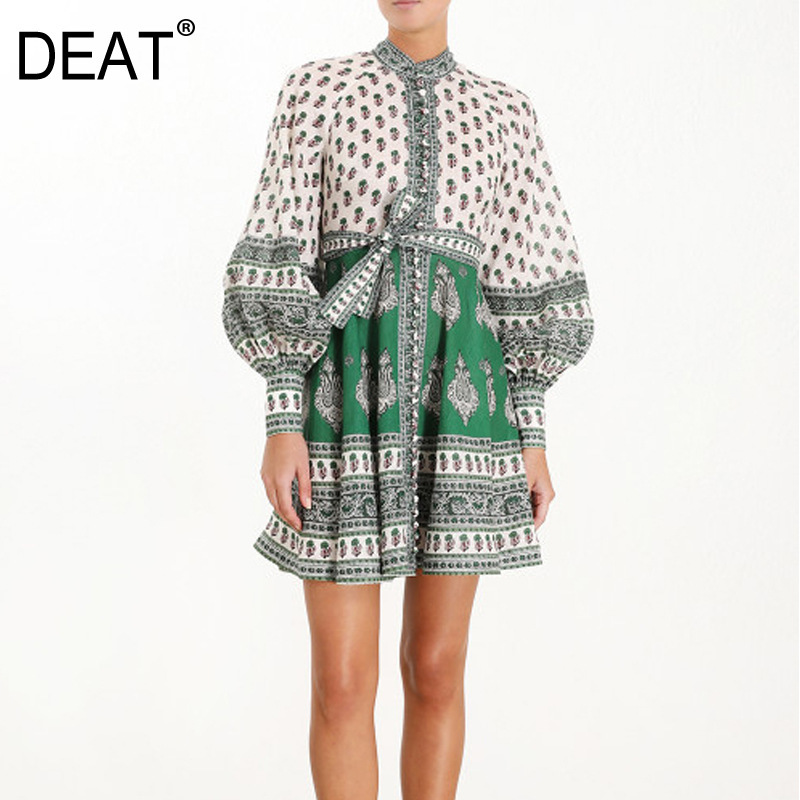 DEAT 2019 new summer fashion women clothes round neck vintage Vacation lantern sleeves linen flower printed dresses WG84206L-in Dresses from Women's Clothing    1