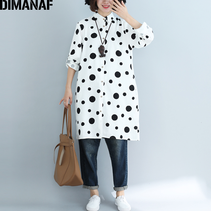 DIMANAF Plus Size Women   Blouse     Shirts   Long Sleeve Lady Tops Cotton Print Polka Dot Black Loose Female Clothes 2109 Spring Summer